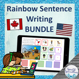 Rainbow Sentence Writing BOOM Cards™ for Distance Learning **BUNDLE**