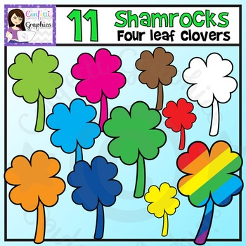 Rainbow Shamrocks / 4 Leaf Clovers / St. Patrick's Day / March Clip Art