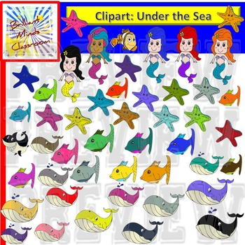 117 graphics- Rainbow Under the Sea Clipart - Mermaid, Shark, Fish and more!