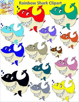 Rainbow Shark Clipart - 28 Graphics
