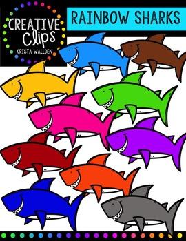 Rainbow Sharks {Creative Clips Digital Clipart}