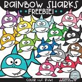 Rainbow Sharks FREEBIE! {shark clipart}