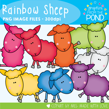 Rainbow Sheep - Clipart for Teachers