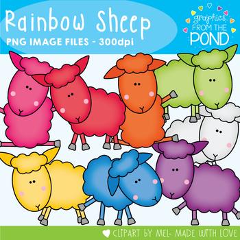 Rainbow Sheep - Clipart for Teachers