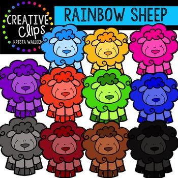 Rainbow Sheep {Creative Clips Digital Clipart}