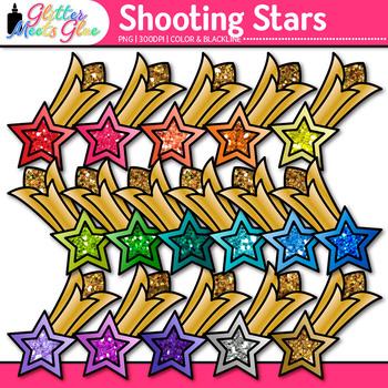 Rainbow Shooting Stars Clip Art {Glitter Graphics for Award Certificates}