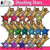 Rainbow Shooting Stars Clip Art | Glitter Graphics for Award Certificates