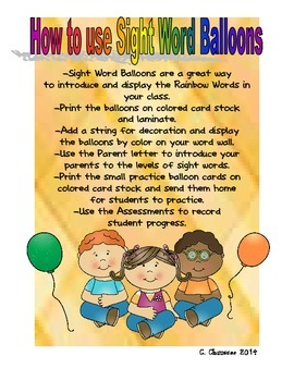 Rainbow Sight Word Balloons
