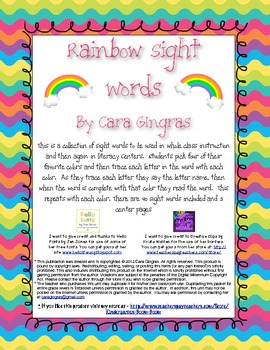 Rainbow Sight Word Lesson and Center Activities