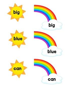 Rainbow Sight Word Matching