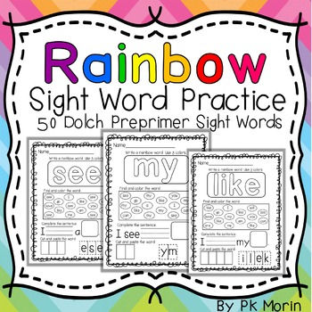 Rainbow Sight Word Practice Pack
