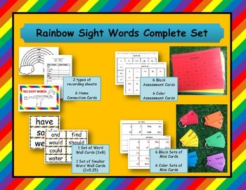 Rainbow Sight Words Complete Set: Recording Sheet and Assessment