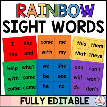 Rainbow Sight Words Editable
