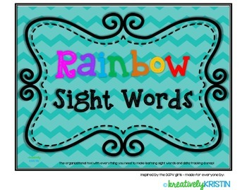 Rainbow Sight Words Pre & Primer Dolch Words HUGE Kit, learn words & Track Data
