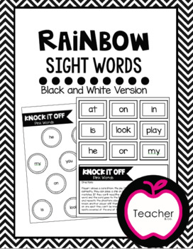 Rainbow Sight Words-Knock It Off Game