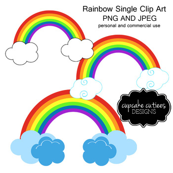 Rainbow Single Spring Digital Clip Art and Clouds