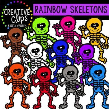 Rainbow Skeletons {Creative Clips Digital Clipart}