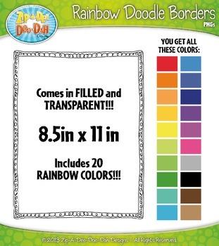 Rainbow Skinny Doodle Border Frames Set 10  — Over 40 Graphics!