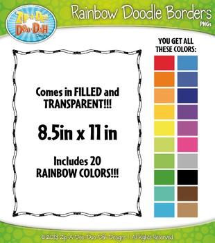 Rainbow Skinny Doodle Border Frames Set 14 — Over 40 Graphics!