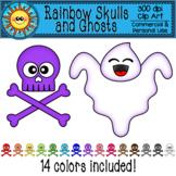 Rainbow Skulls and Ghosts Clip Art