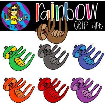 Rainbow Sloth Clip Art