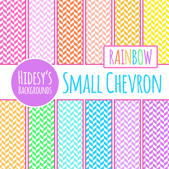 Rainbow Small Chevron Digital Papers / Backgrounds / Patterns Clip Art Set