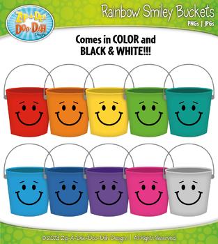 Rainbow Smiley Buckets Clipart — Over 10 Graphics!