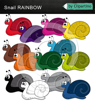 Rainbow Snails Clipart