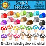 Rainbow Snails and Toadstools Clip Art
