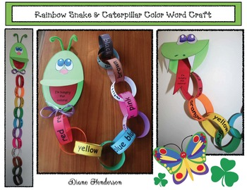 Rainbow Snake & Caterpillar Color Word Craft