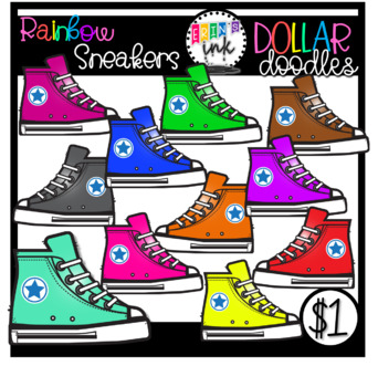 Rainbow Sneaker Clipart (Erin's Ink Clipart)