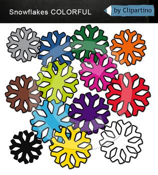 Rainbow Snowflakes Clip Art