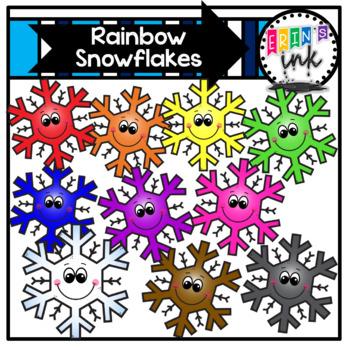Rainbow Snowflakes (Erin's Ink Clipart)