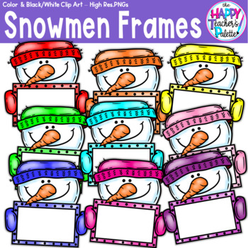HTP Clip Art Rainbow Snowman Frames {The Happy Teacher's Palette}
