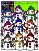Rainbow Snowmen {Creative Clips Digital Clipart}