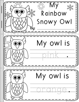 """Color Word Booklets """"Rainbow the Snowy Owl"""""""