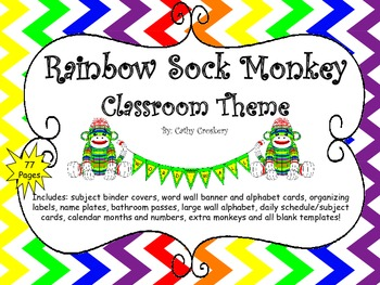 Rainbow Sock Monkey Classroom Theme