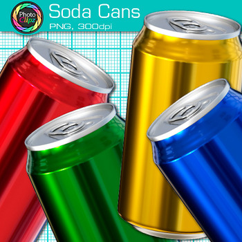 """Rainbow Soda Can Clip Art {Great for """"I Can"""" Statements, Health Resources}"""