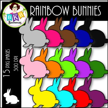 Rainbow Solid Bunny ● Clip Art ● Products for TpT Sellers