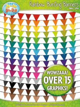 Rainbow Solid Bunting Pendants Banners  — 16 Colorful Clip Art!