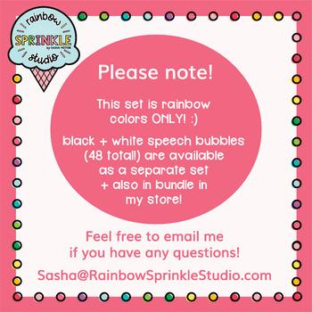Rainbow Speech Bubble Clipart  {speech bubble clipart}