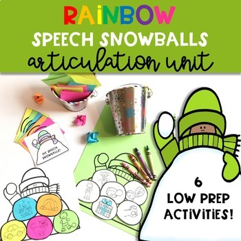Winter Speech Therapy Craft: Articulation Rainbow Snowballs