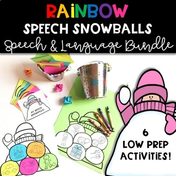 Winter Speech Therapy Craft: Rainbow Speech & Language Snowballs BUNDLE