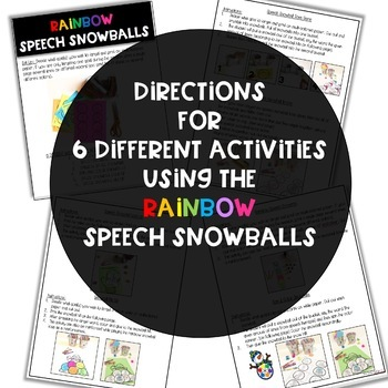 Winter Craft: Rainbow Speech & Language Snowballs BUNDLE