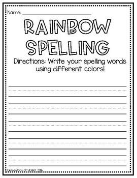 Rainbow Spelling Center Activity