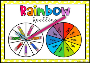 Rainbow Spelling Words - Colored Pencils Spin and Write {Editable}
