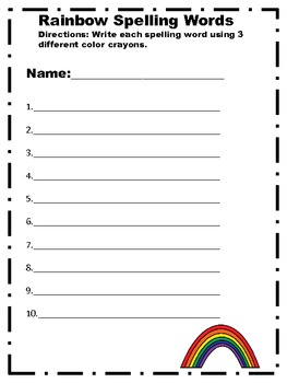 Rainbow spelling words recording sheet by heather byers for Rainbow writing spelling words template