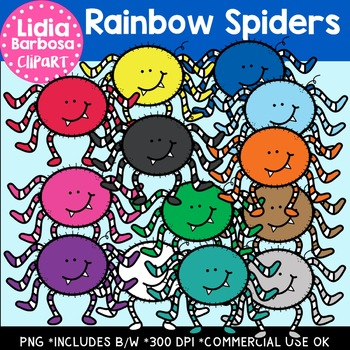 rainbow spiders halloween clipart