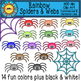 Rainbow Spiders and Webs Clip Art