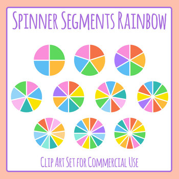 Rainbow Spinner Segments / Fractions Clip Art Set for Commercial Use